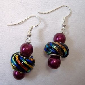 Multi Color Beaded Earrings Silver Metal Glass